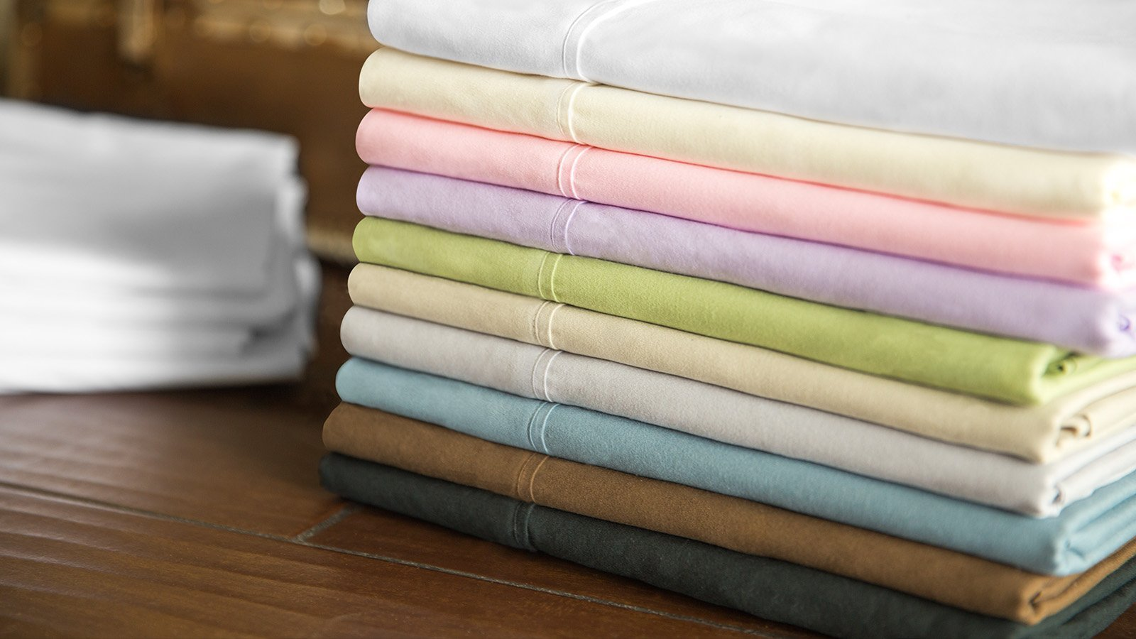 Stack of Brushed-Microfiber Sheets with colors