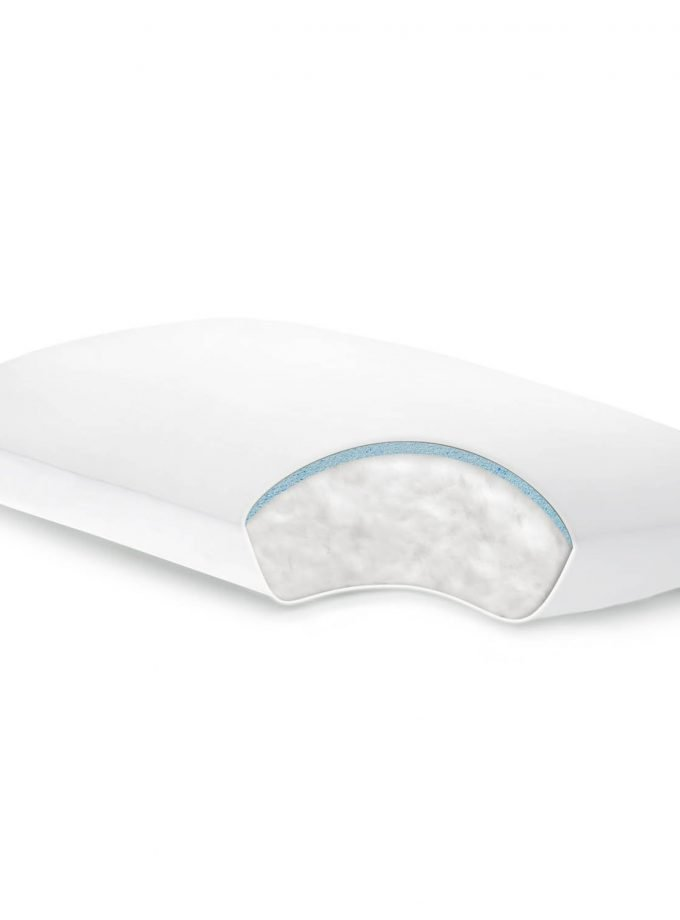 Gelled Microfiber plus gel dough layer pillow cutout view
