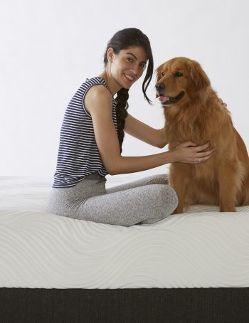 Pure Talalay Latex Bliss Mattress with woman and dog
