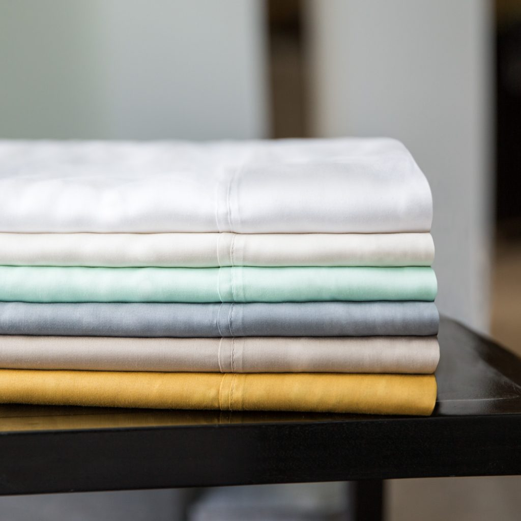 Stack of tencel sheets colors