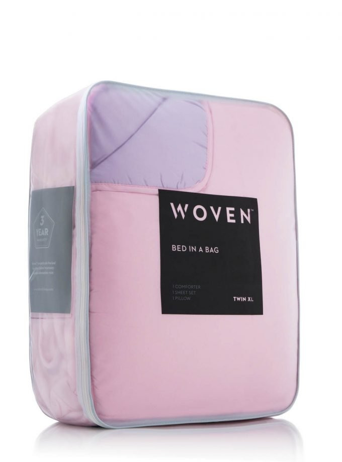 Lilac/Blush Reversible Bed in a bag display case