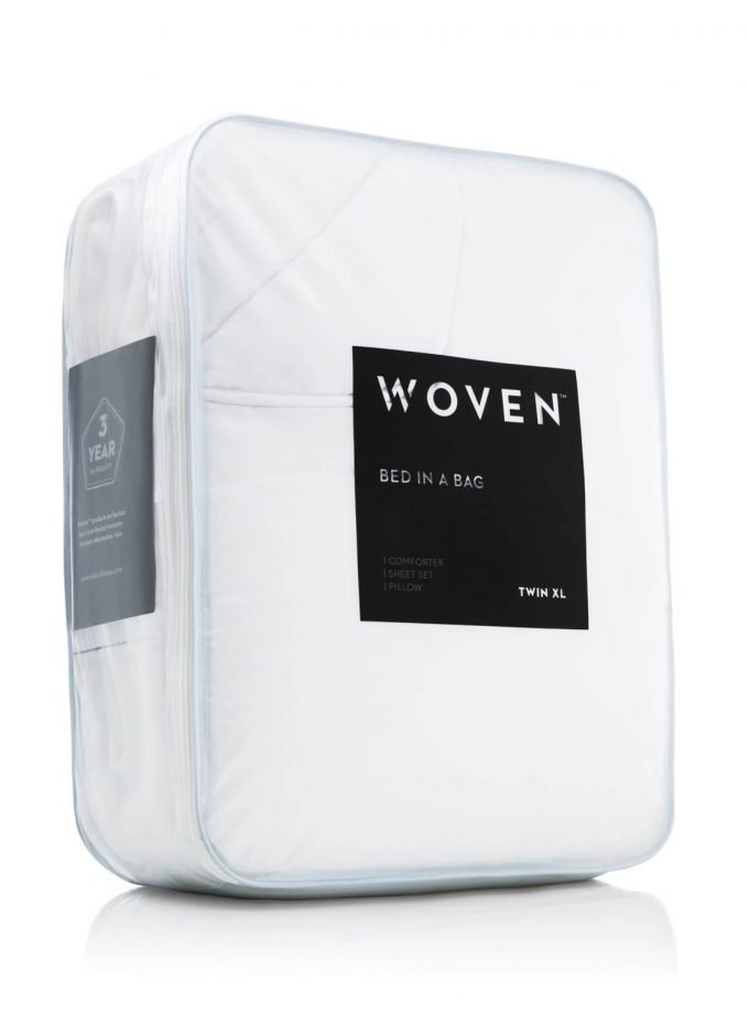 White Reversible Bed in a bag display case